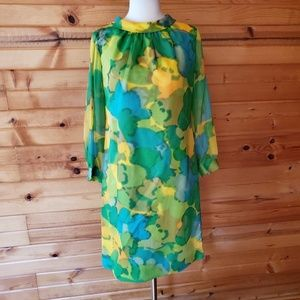 1960s Unlabeled Multi-Color, Thin Poly Shift Dress